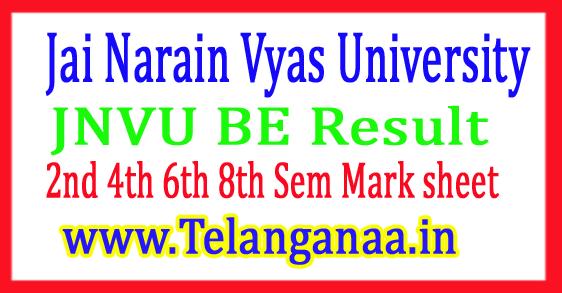 JNVU BE Result 2017 2nd 4th 6th 8th Sem Mark sheet