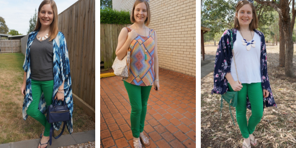 3 ways to wear green skinny jeans in spring | awayfromblue blog