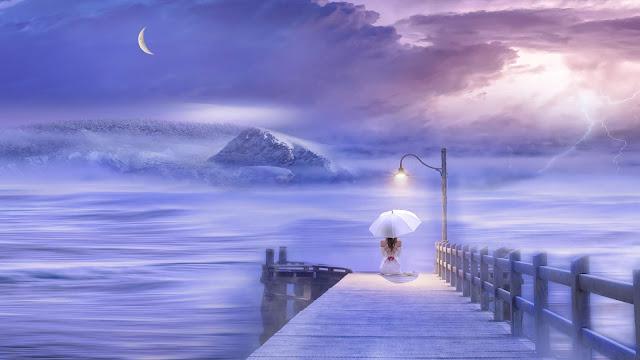 Papel de Parede Lindo Sonho Mulher com Sombrinha, Arte Digital, Fantasia, hd