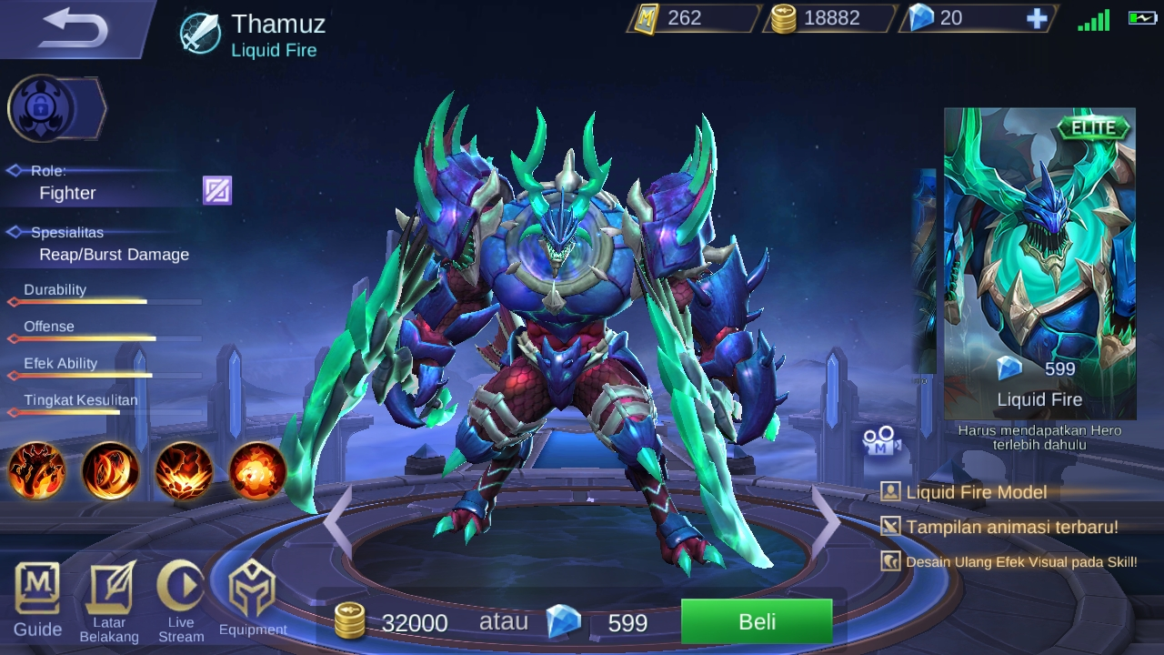 Thamuz Hero Figther dengan Hit Point Tinggi