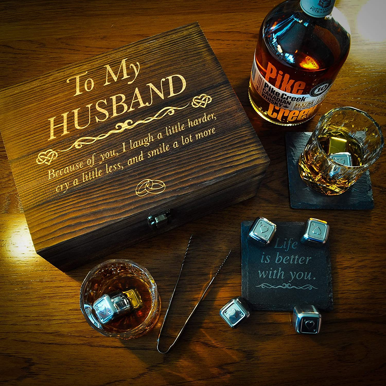 Whiskey Glass Set Engraved For Husband
