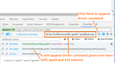 append driver command with xpath in chropath