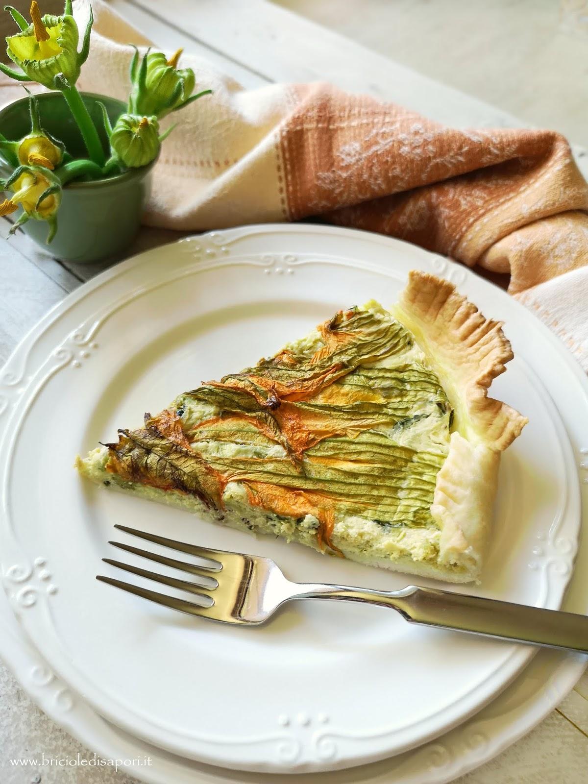 torta brisée con fiori di zucca zucchine salamella e ricotta