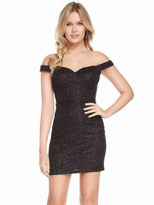 Off The Shoulder Alyce Paris Short Dress Black plum