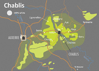 The Chablis wine region is the northernmost region of Burgundy, France