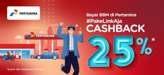 #LinkAja - #Promo Cashback 25% Bayar BBM di Pertamina (s.d 31 Januari 2020)