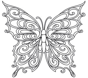Coloring Page World: Baroque Natura - Butterfly
