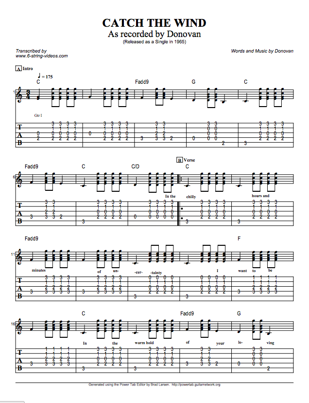 Guitar Tabs: Tabs and Song Sheets For: Catch The Wind by Donovan