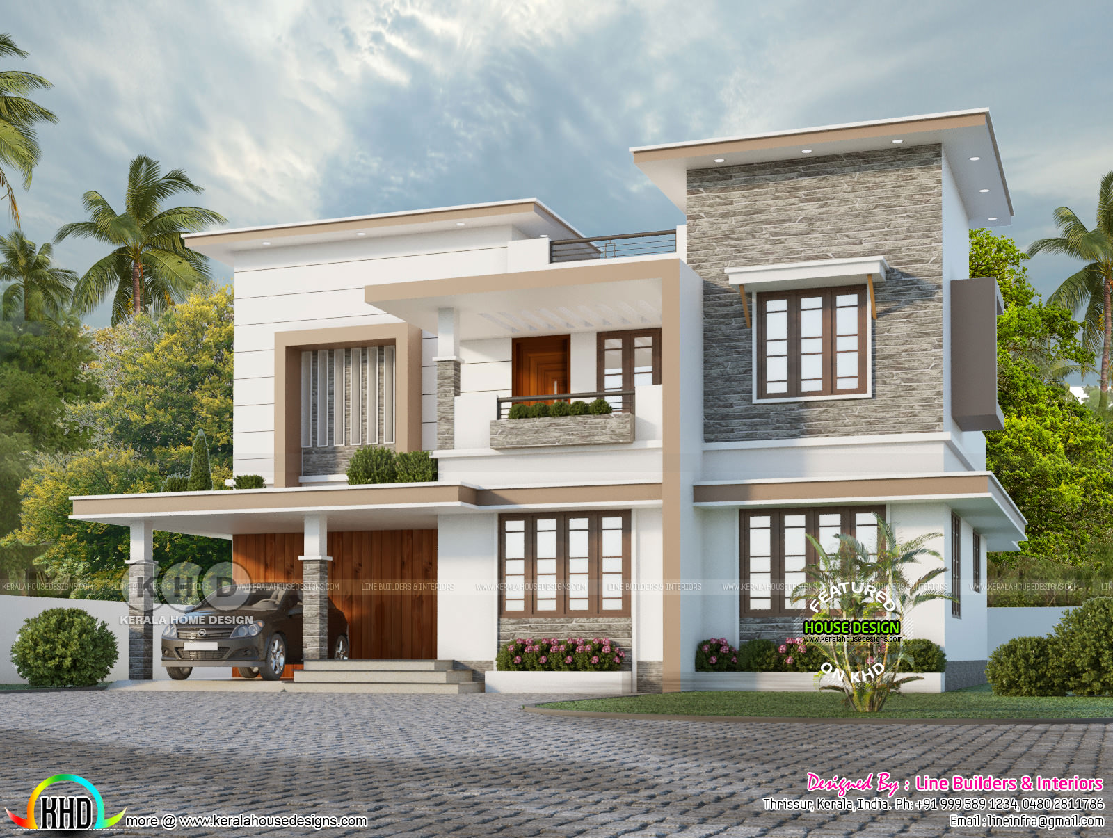 1982 Sq Ft Flat Roof Modern House Kerala Home Design And Floor Plans 8000 Houses