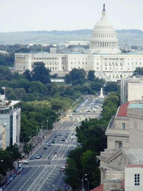 View of US Capitol Building and surrounding streets