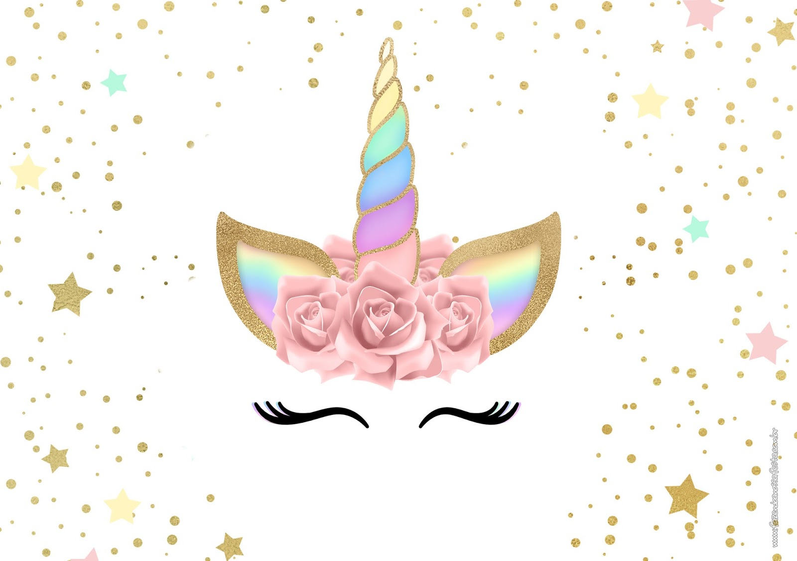 image relating to Free Printable Unicorn Invitations identified as Unicorn with Rainbow: Cost-free Printable Invites. - Oh My