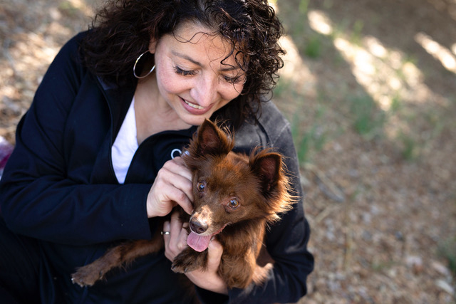 Interview with Malena DeMartini, pictured here with her dog, about treating separation anxiety in dogs