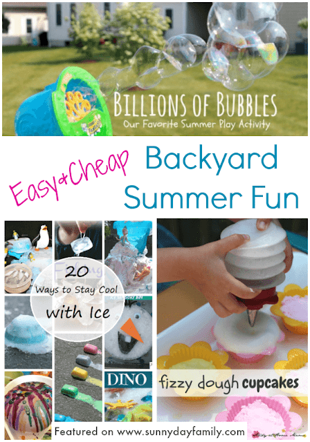 Easy, inexpensive ways to keep the kids entertained in the backyard! Super summer fun with bubbles, ice, and more!