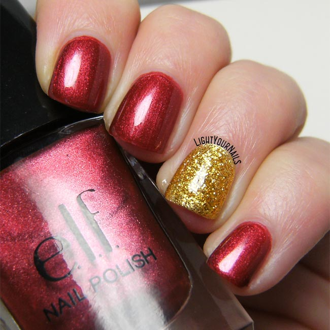 Red and gold nailart