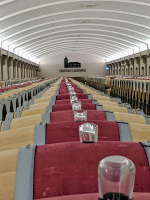 Bordeaux to Medoc: The barrel room at Chateau Lagrange