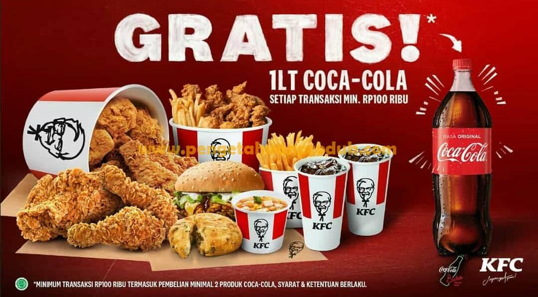 Promo KFC Terbaru Gratis Coca Cola 1 Liter belanja minimal Rp 100.000