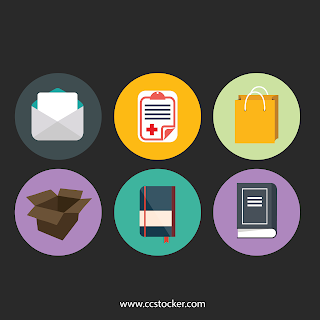 Flat icon of book,bag,box,envelop