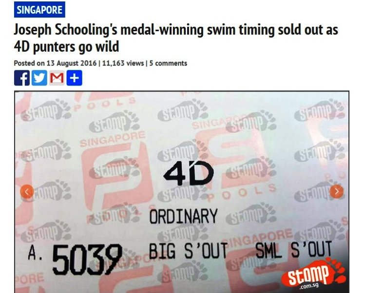 joseph schooling olympic timing 4d numbers sold out