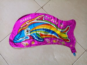 Balon Foil Character Happy Dolphin Metalik Pink