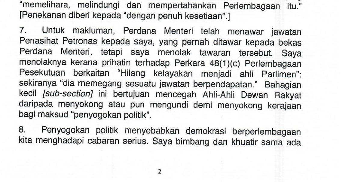 Muhyiddin Tawar Jawatan Pengerusi Petronas