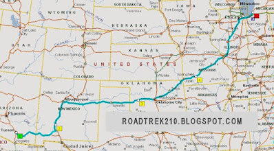 route from Arizona to Michigan with Illinois rest
