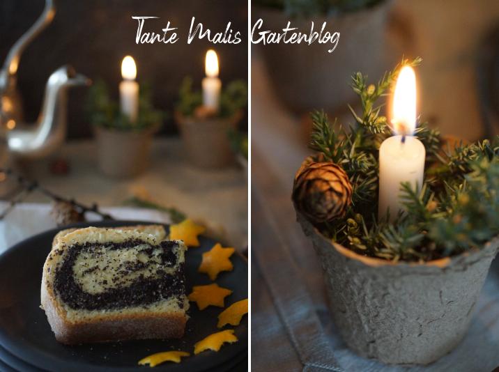 einfache Tischdekoration für den Advent
