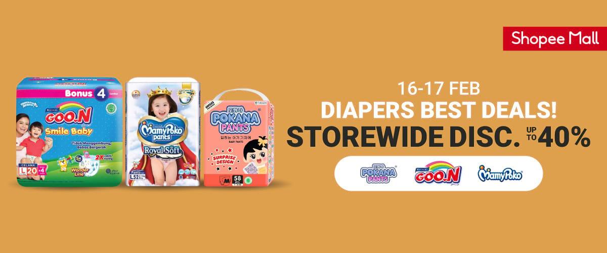 #Shopee - #Promo Diapers Best Deals #Diskon Hingga 40% (HARI TERAKHIR)