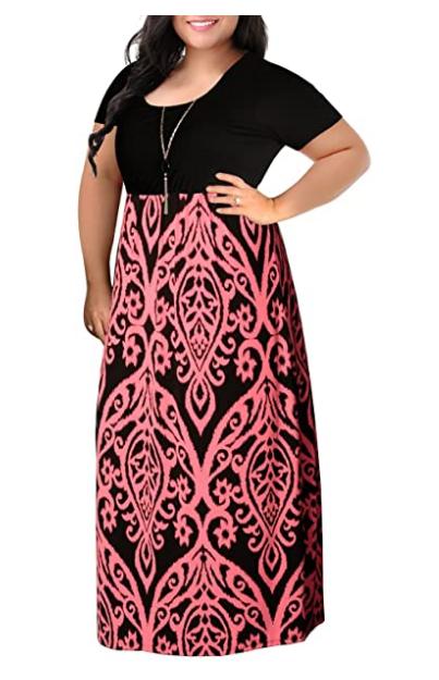 Chevron Print Summer Short Sleeve Plus Size Casual Maxi Dress