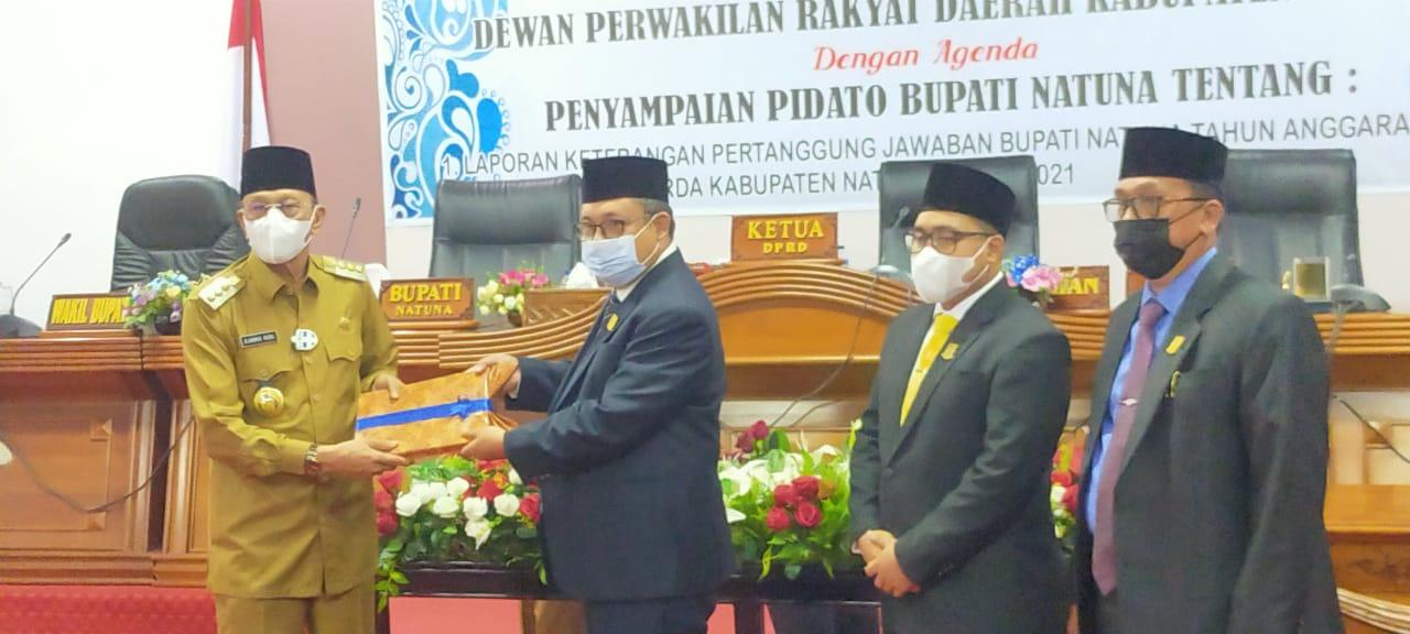 Ketua DPRD Natuna Pimpin Rapat Paripurna Dengan Agenda Penyampaian Pidato Bupati Natuna Tentang LKPj Bupati Natuna