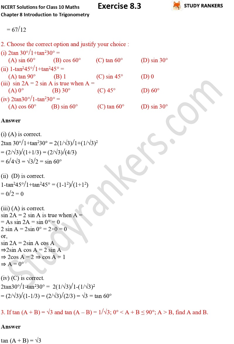 NCERT Solutions for Class 10 Maths Chapter 8 Introduction To Trigonometry Exercise 8.2 Part 2