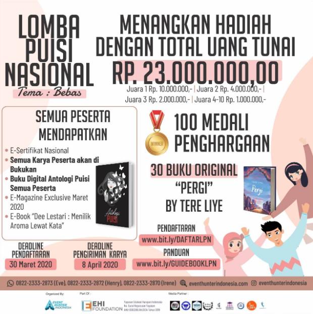 Lomba Menulis Puisi Nasional 2020 di Event Hunter Indonesia