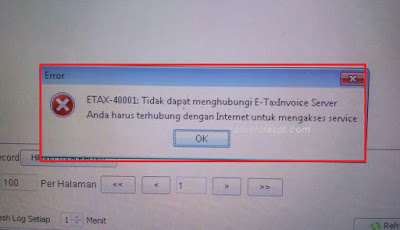Solusi ETAX 40001 Tidak dapat menghubungi e-taxinvoice server