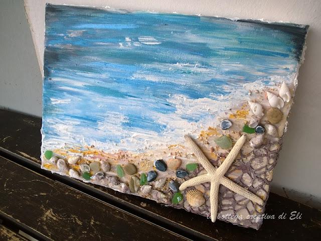SAPORE DI MARE-spiaggia su tela tecnica mixed media