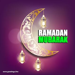 Ramadan Mubarak Crescent Moon sparkling Ramadan Lanterns image