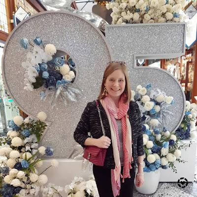 awayfromtheblue Instagram | boucle blazer grey tee pencil skirt striped scarf and magenta edie bag spring business casual brisbane arcade flower show