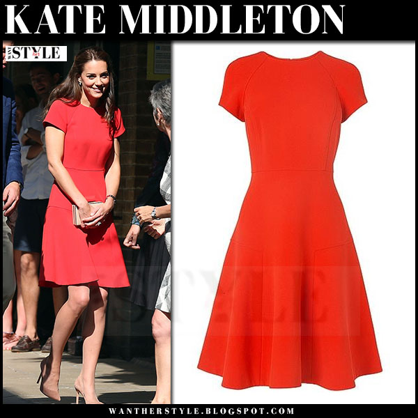 Kate Middleton in red skater dress lk bennett eugenia what she wore