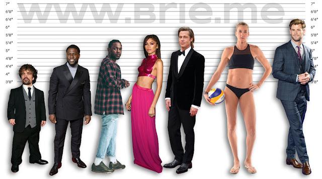 Peter Dinklage, Kevin Hart, Kendrick Lamar, Zendaya, Brad Pitt, Kerri Walsh Jennings, and Chris Hemsworth height comparison