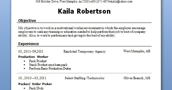 production worker sample resume format in word free download