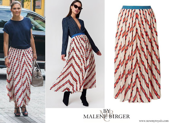 Crown Princess Victoria wore BY MALENE BIRGER Alvilamma pleated striped chiffon midi skirt
