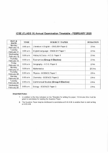 ICSE 9th Time Table 2020: ICSE Time Table 2020