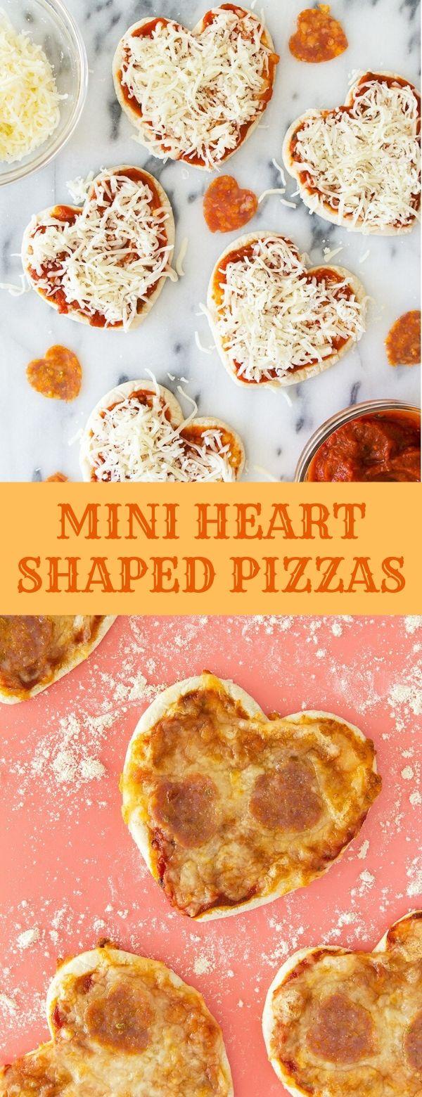 MINI HEART SHAPED PIZZAS #pizza #valenine #dinner