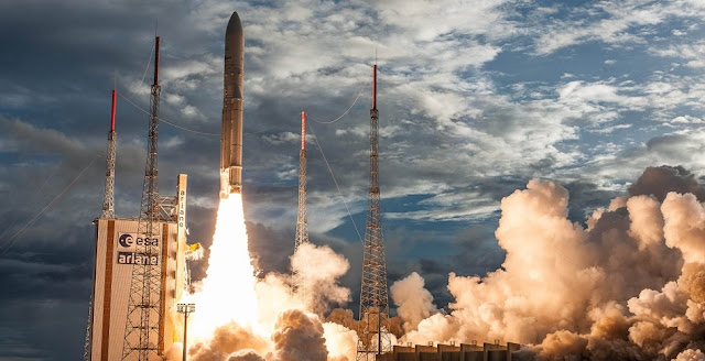 Launch of an Ariane 5, Flight VA238, with the Hellas Sat 3 / Inmarsat S EAN and GSAT-17 satellites aboard on June 28, 2017. Photo Credit: ESA / CNES / Arianespace