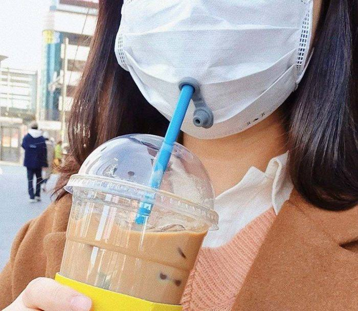 South Korean solution to drink while wearing masks.