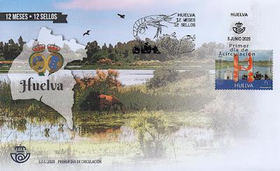 Huelva, 12 meses, 12 sellos, 12 provincias, matasellos, sello, sobre, filatelia,