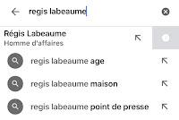 requete regis labeaume avec l'appli google recherche