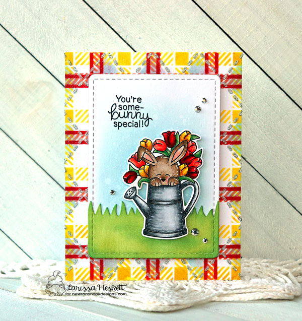 Some-bunny Special Card by Larissa Heskett | Hop Into Spring Stamp Set, Land Borders Die Set, Argyle Stencil Set and Plaid Stencil Set by Newton's Nook Designs #newtonsnook #handmade