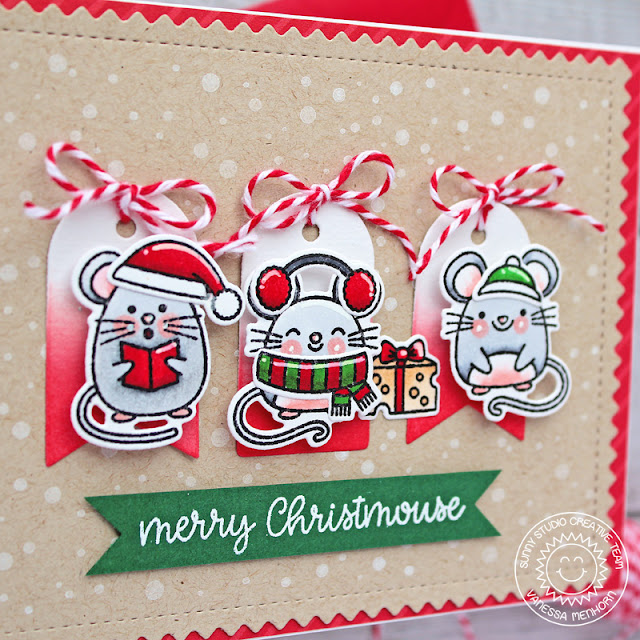 Sunny Studio Stamps: Merry Mice Frosty Flurries Frilly Frames Winter Themed Christmas Card by Vanessa Menhorn