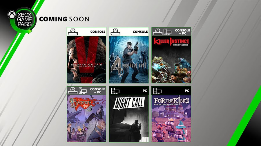 xbox game pass for the king killer instinct metal gear solid v phantom pain night call resident evil 4 banner saga 3 xb1 2019