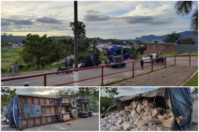Reboque de carreta bitrem desengata e tomba em Ibicoara
