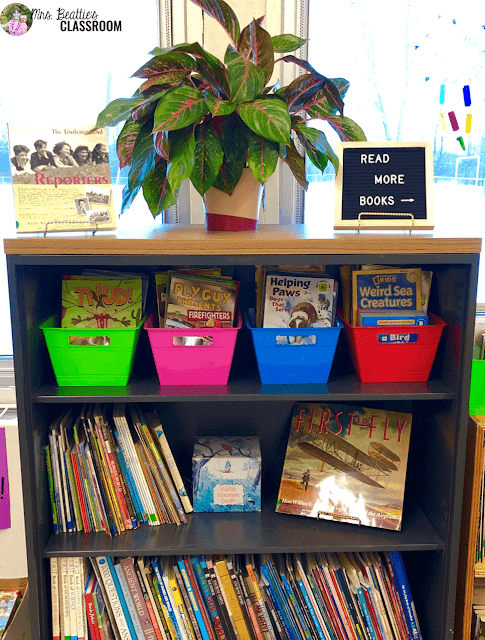 Photo of classroom library.
